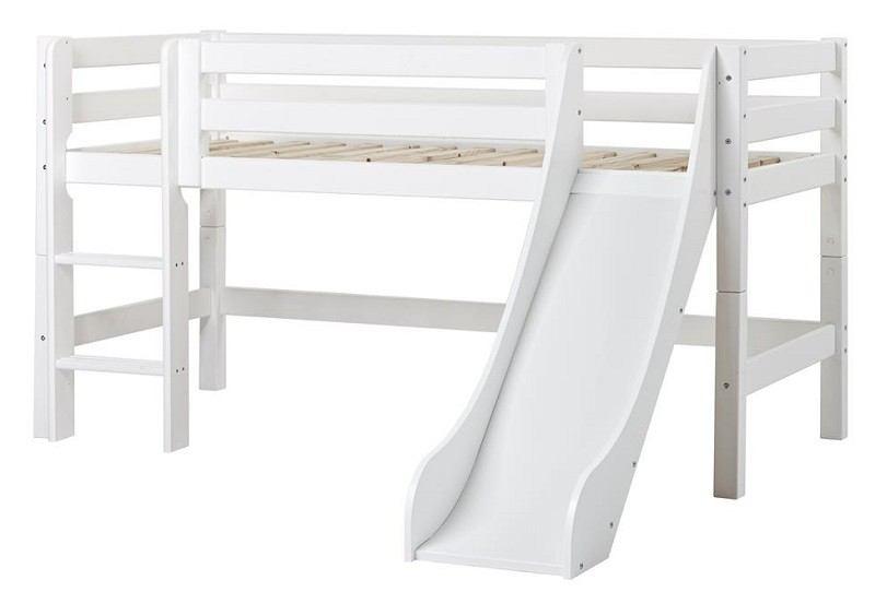 Hoppekids Premium Halvhøj seng med rutsjebane hvid