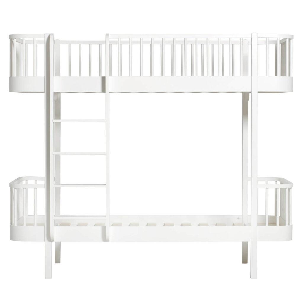 Oliver Furniture Wood Køjeseng Hvid med stige i front