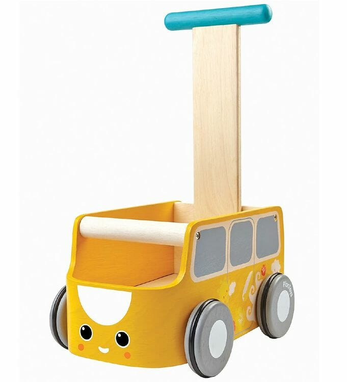 PlanToys Gåvogn Gul Bus