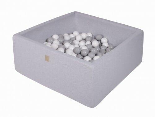 MeowBaby boldbassin 110×110×40 lysegrå med 400 bolde