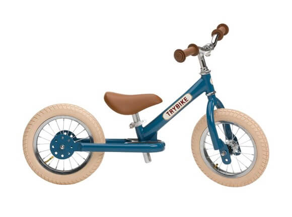 Trybike vintage blå 2-hjulet løbecykel